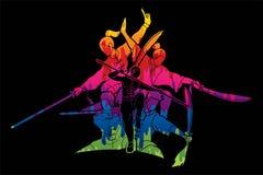 Kung Fu-de vechter met wapens, Vechtsportenactie stelt beeldverhaal vector illustratie