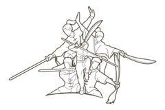 Kung Fu-de vechter met wapens, Vechtsportenactie stelt beeldverhaal stock illustratie
