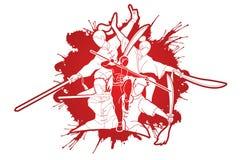 Kung Fu-de vechter met wapens, Vechtsportenactie stelt beeldverhaal royalty-vrije illustratie