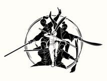 Kung Fu-de vechter met wapens, Vechtsportenactie stelt grafisch beeldverhaal royalty-vrije illustratie