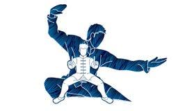 Kung Fu-de vechter, Vechtsportenactie stelt beeldverhaal vector illustratie