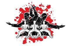 Kung Fu-de vechter, Vechtsportenactie stelt beeldverhaal royalty-vrije illustratie