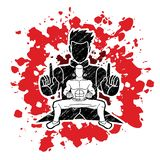 Kung Fu-de vechter, Vechtsportenactie stelt beeldverhaal stock illustratie