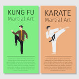 Kung-fu di arti marziali, alette di filatoio di karatè illustrazione vettoriale