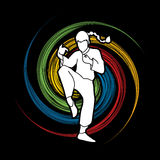 Kung Fu. Drunken Kung fu pose designed on spin wheel background graphic vector Stock Photo