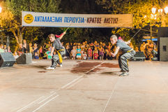 Kung Fu festival. Sword warriors do shadow fight duo stile, festival from athens stock images