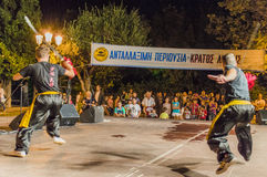 Kung Fu festival. Sword warriors do shadow fight duo stile, festival from athens stock photo