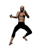 Kung Fu fighter. Rendered martial artist in defensive posture Stock Image