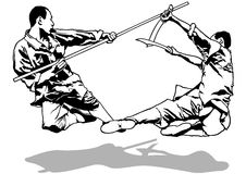 Kung-Fu Fighters Sketch. Black and White Illustration, Vector Stock Images