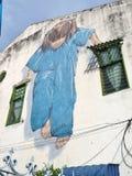 Kung Fu Girl gatakonst i den Georgetown staden, Penang, Malaysia Royaltyfria Foton