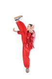 Kung fu girl high kick Royalty Free Stock Photos