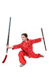 Kung fu girl sword exercise Stock Photo