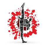 Kung fu, Karate high kick front view. Illustration graphic vector Stock Photo