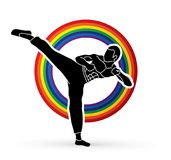 Kung fu, Karate kick. Illustration graphic vector Royalty Free Stock Images