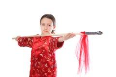 Kung fu Mädchen mit Stange Lizenzfreie Stockfotografie