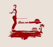 Kung Fu martial art silhouette of woman with sword. Kung Fu martial art silhouette of woman in sword fight pose. Woman posing on grunge brush stroke. Cloudscape Royalty Free Stock Photos