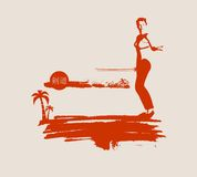 Kung Fu martial art silhouette of woman with sword. Kung Fu martial art silhouette of woman in sword fight pose. Woman posing on grunge brush stroke. Cloudscape Royalty Free Stock Photography
