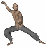 Kung Fu Monk. 3D rendered Kung Fu monk in action pose on white background isolated Stock Photo