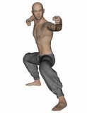 Kung Fu Monk. 3D rendered Kung Fu monk in action pose on white background isolated Royalty Free Stock Image