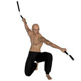 Kung Fu monk with nunchaku. 3D rendered Kung Fu monk with nunchaku on action poses on white background isolated Stock Photos