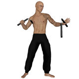 Kung Fu monk with nunchaku. 3D rendered Kung Fu monk with nunchaku on action poses on white background isolated Royalty Free Stock Photos
