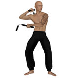 Kung Fu monk with nunchaku. 3D rendered Kung Fu monk with nunchaku on action poses on white background isolated Stock Image