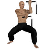 Kung Fu monk with nunchaku. 3D rendered Kung Fu monk with nunchaku on action poses on white background isolated Stock Photo