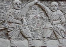 Kung Fu munkskulptur Arkivbilder