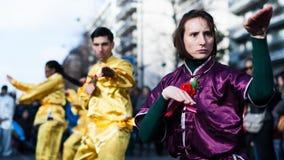 Kung Fu performer at the chinese new year parade Royalty Free Stock Photography