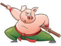 Kung fu pig. Vector illustration of Cartoon Kung fu pig stock illustration
