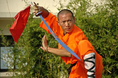 Kung fu practice, a famous Chinese sport. Royalty Free Stock Photo