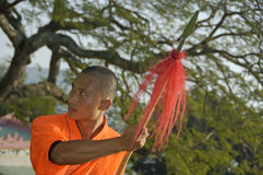 Kung fu practice, a famous Chinese sport. Royalty Free Stock Images