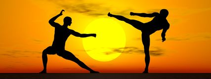 Kung-fu by sunset - 3D render. Shadow of two men in kung-fu posture by sunset Stock Photos