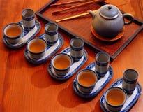 Kung fu tea set. Chinese kung fu tea set five cups of tea and a ceramic pot stock images