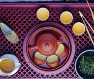 Kung fu tea set. Chinese kung fu tea set many cups of tea and a ceramic pot stock photography