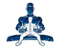 Kung Fu-vechter, grafische het beeldverhaal van de Vechtsportenactie royalty-vrije illustratie