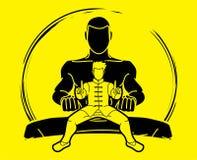 Kung Fu-vechter, grafische het beeldverhaal van de Vechtsportenactie vector illustratie