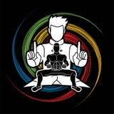 Kung Fu-vechter, het beeldverhaal van de Vechtsportenactie stock illustratie