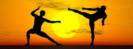 Kung fu vid solnedgång - 3D framför Arkivfoton