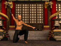 Kung Fu warrior. 3D rendered Kung Fu monk in action pose with nunchaku in temple Stock Photos