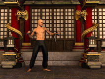 Kung Fu warrior. 3D rendered Kung Fu monk in action pose with nunchaku in temple Royalty Free Stock Photography