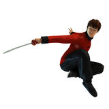 Kung Fu warrior. 3D rendered kung fu warrior with sword on white background isolated Stock Images