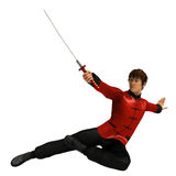 Kung Fu warrior. 3D rendered kung fu warrior with sword on white background isolated Royalty Free Stock Photo