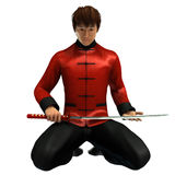 Kung Fu warrior. 3D rendered kung fu warrior with sword on white background isolated Royalty Free Stock Photos