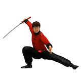 Kung Fu warrior. 3D rendered kung fu warrior with sword on white background isolated Royalty Free Stock Images