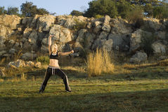 Kung fu woman in park Royalty Free Stock Photos