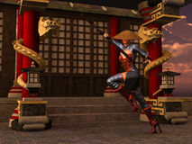 Kung Fu woman warrior. 3D rendered Kung Fu woman warrior in action pose with bo staff in temple Stock Image