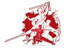 Kung Fu, Wushu z kordzikami, grupa ludzi pozy kung fu akcji walcząca grafika royalty ilustracja