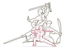 Kung Fu, Wushu z kordzikami, grupa ludzi pozy kung fu akcji walcz?ca grafika royalty ilustracja
