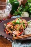 Kung Pao鸡用胡椒和菜 免版税库存图片